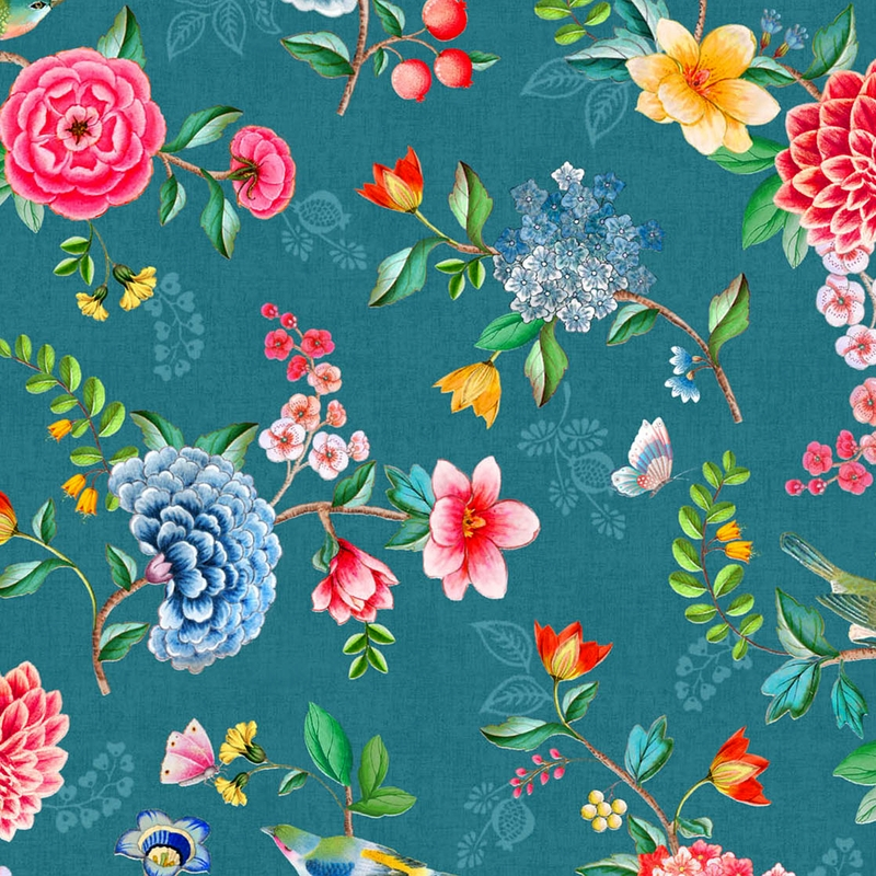 Vinyltapete 'Blumen' petrol/rosa/senf