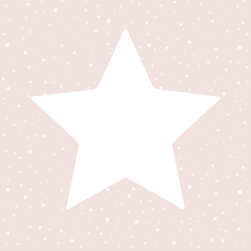 Kindertapete 'Sterne' puderrosa/weiß