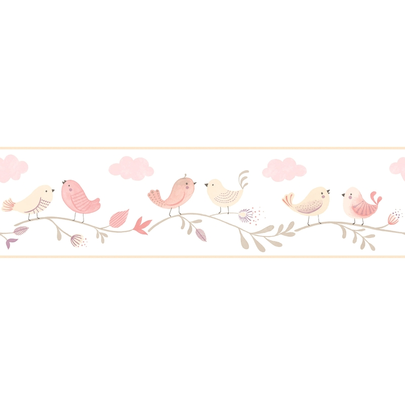 Bordüre 'Rose & Nino' Vögel rosa/creme