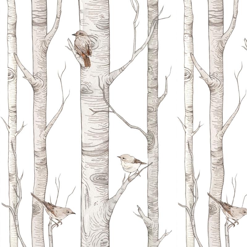 Vliestapete 'Wald' weiß/grau 50x280cm