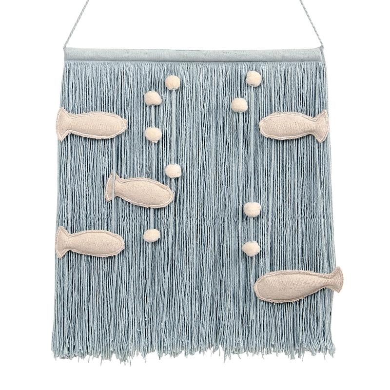 Wanddeko 'Ocean' softblau/natur ca. 45cm