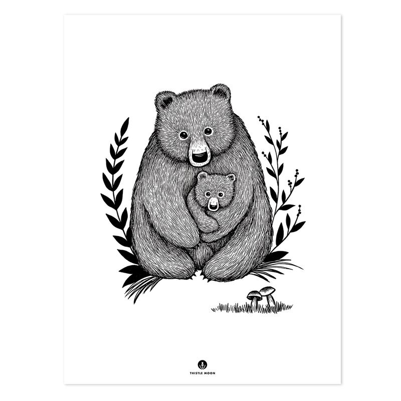 Poster 'Bären schwarz/weiß 30x40cm