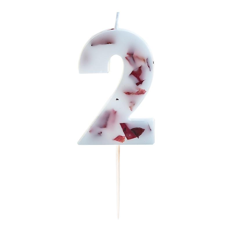Zahlenkerze 2 mit Blüten weiß/bordeaux