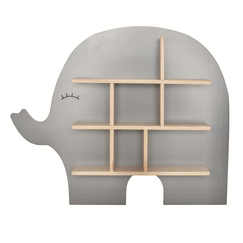 Wandregal 'Elefant' Holz grau 54x61cm