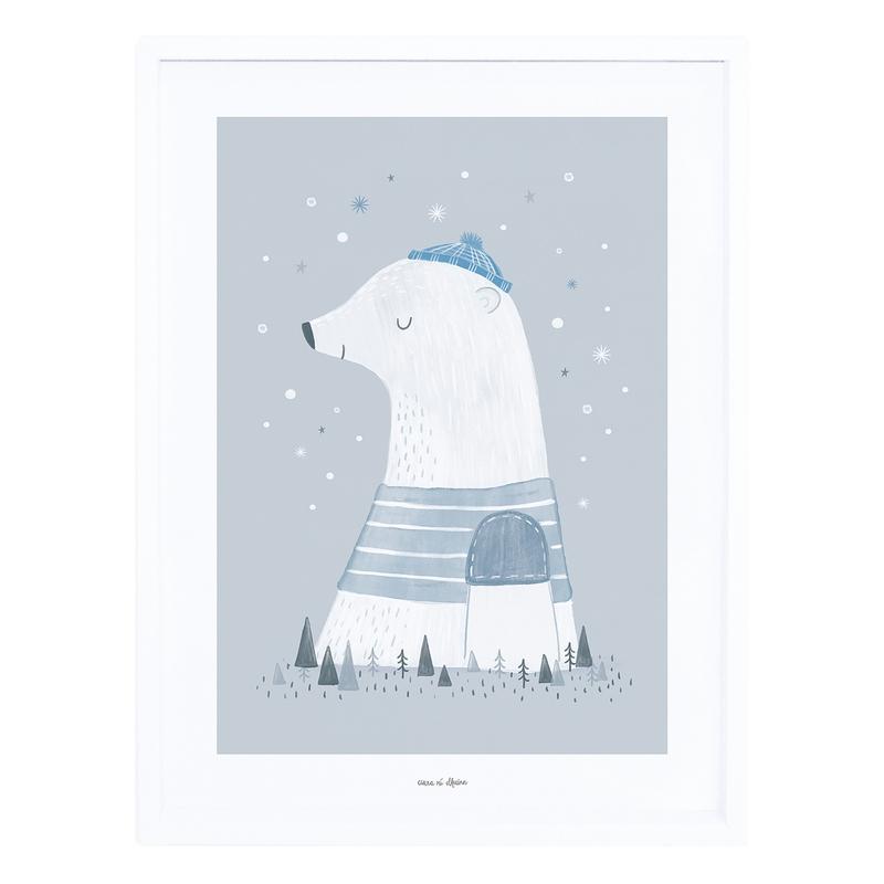 Bild 'Arctic' Eisbär grau/blau 30x40cm