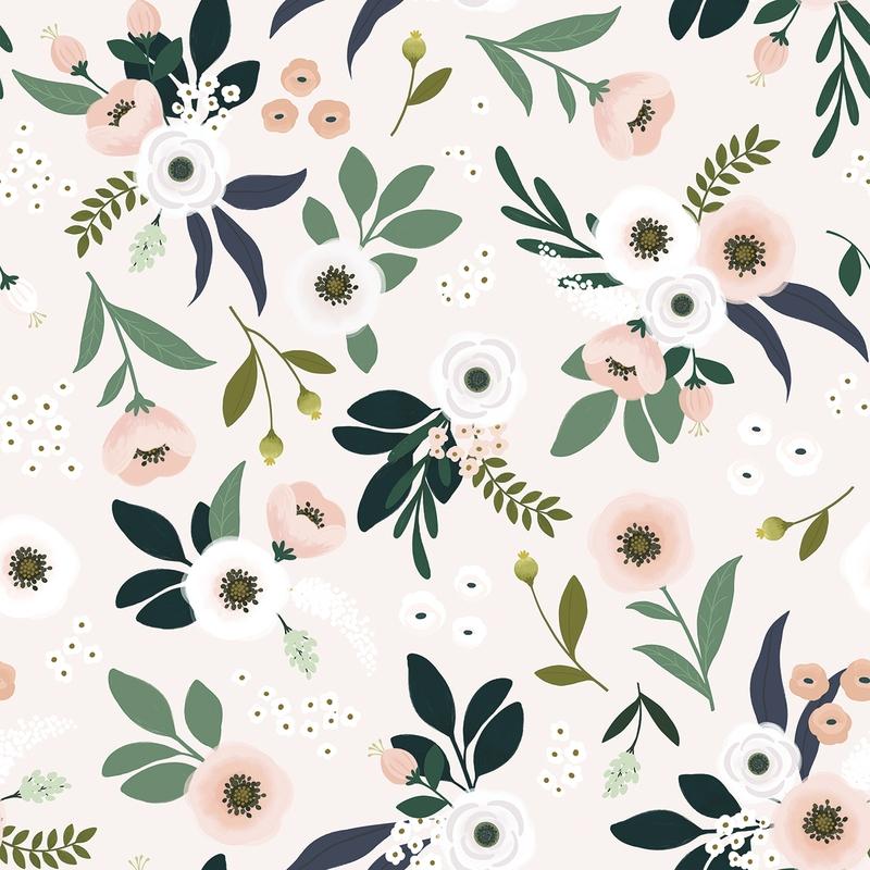 Vliestapete 'Wonderland' Blumen puder/grün