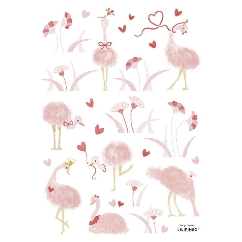 Wandsticker Flamingos 'Coquette' rosa