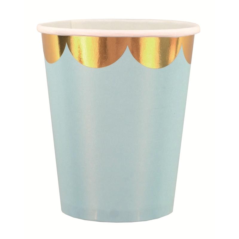 8er Set Party Pappbecher blau/gold