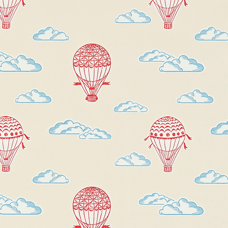 Tapete 'Heißluftballons' creme/rot/blau