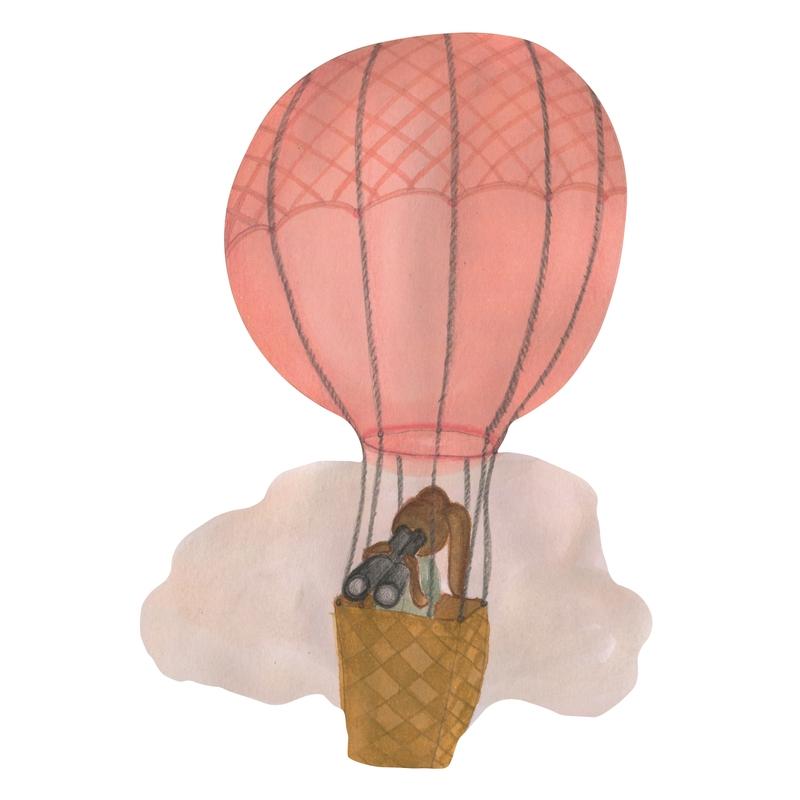Stoff-Wandsticker 'Heißluftballon' altrosa