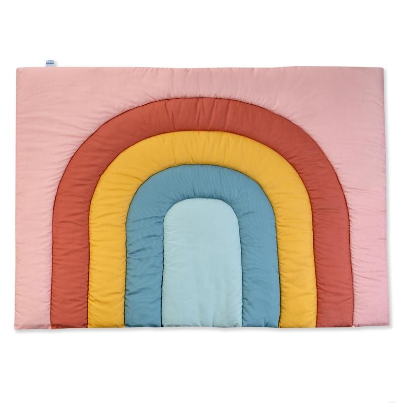 Krabbeldecke 'Regenbogen' rosa/rost 95x135cm