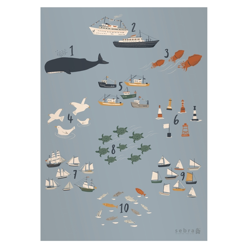 Poster Zahlen & Tiere 'Seven Seas' 50x70cm