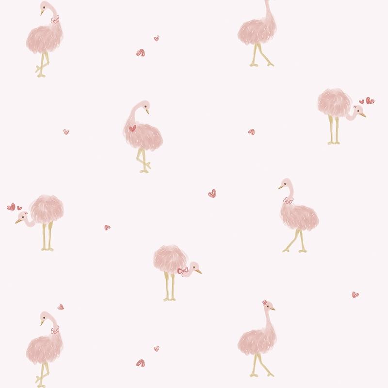 Vliestapete 'Flamingos' altrosa/gold