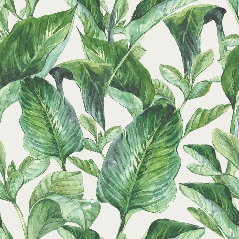 Vliestapete 'Blätter' weiß/grün 50x280cm