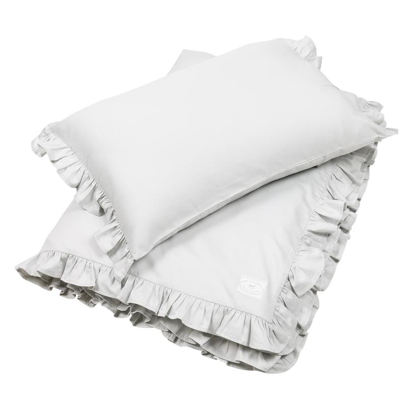 Bettwäsche mit Rüschen hellgrau 100x135cm