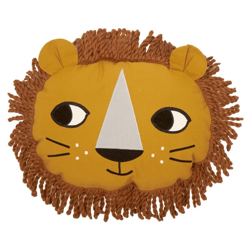 Spielkissen 'Löwe' bestickt senfgelb ca. 40cm