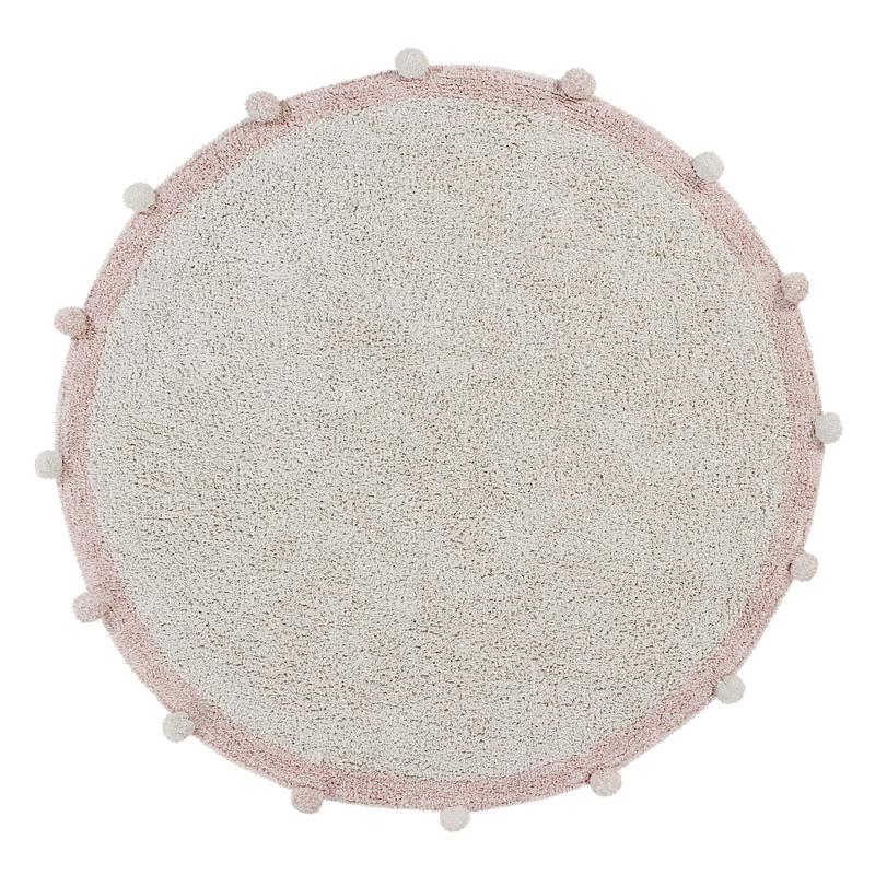 Teppich 'Bubble' rund creme/rosa 120cm waschbar