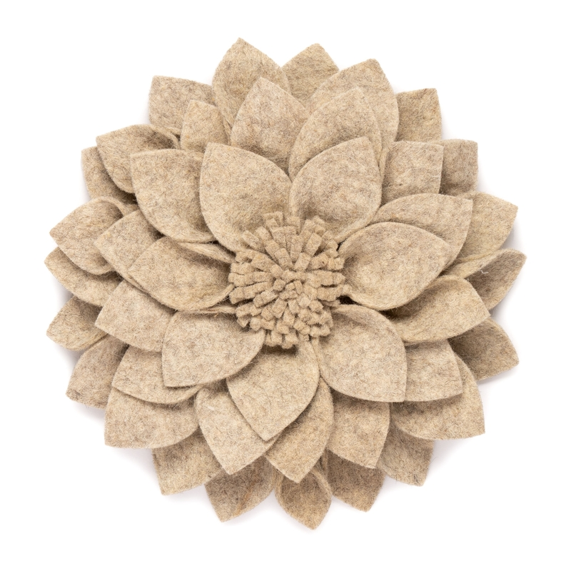 Wandblume aus Filz 'Kuba' beige 30cm