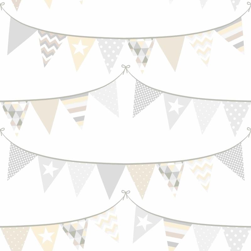 Vliestapete 'Wimpeln' beige/grau