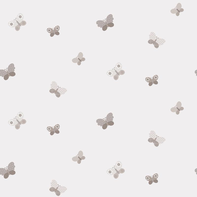 Vliestapete 'Schmetterlinge' hellgrau