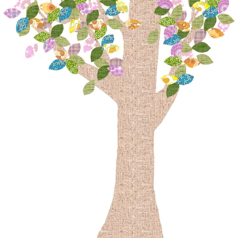Tapetenbaum groß natur/bunt