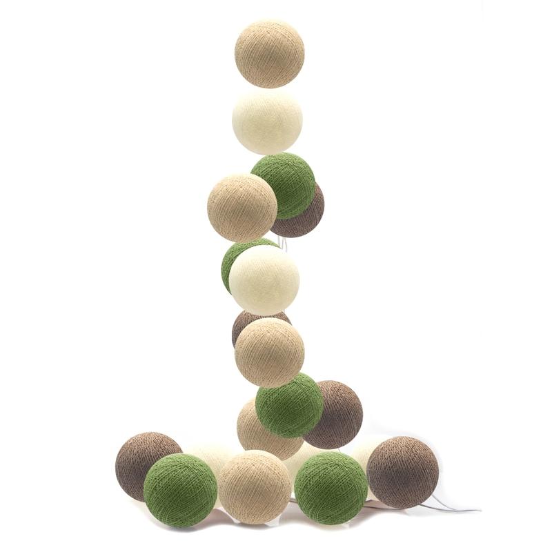 Lichterkette Cotton Balls LED blattgrün/beige