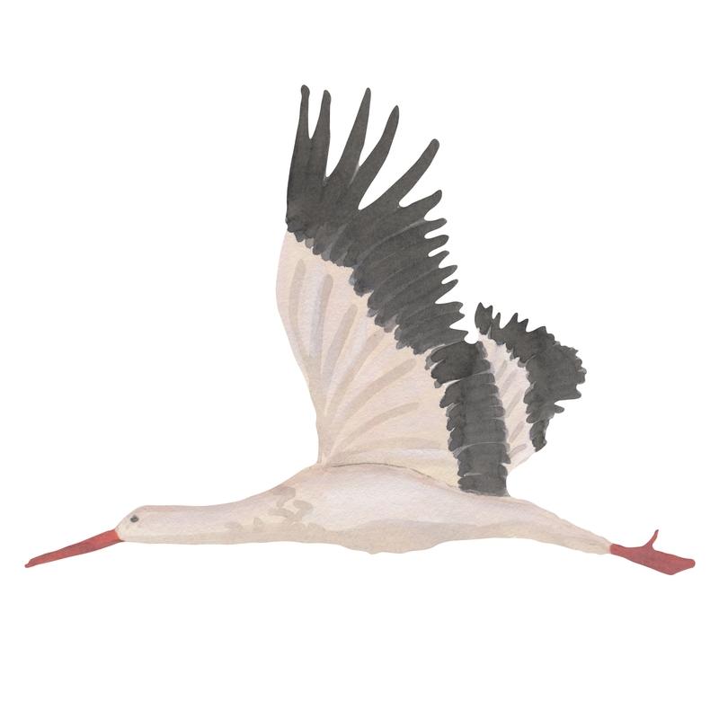 Stoff-Wandsticker 'Storch' weiß 67cm