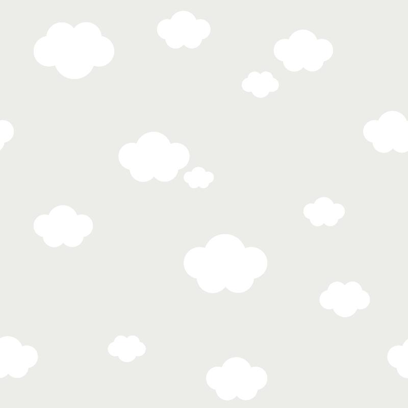 Kindertapete 'Wolken' grau/weiß