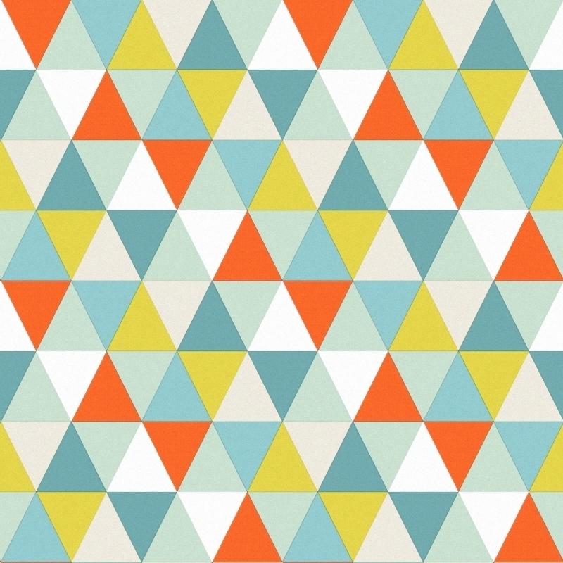 Vliestapete 'Triangle' mint/orange