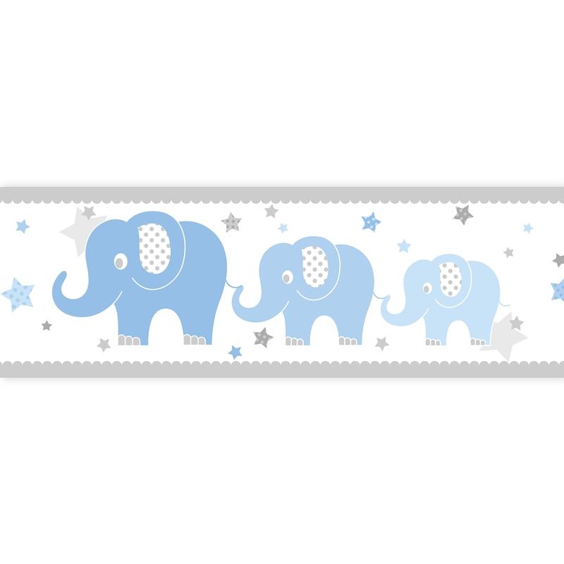 Bordüre Elefanten blau selbstklebend