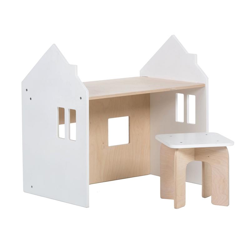 Tisch mit Hocker 'Puppenhaus' natur/weiß
