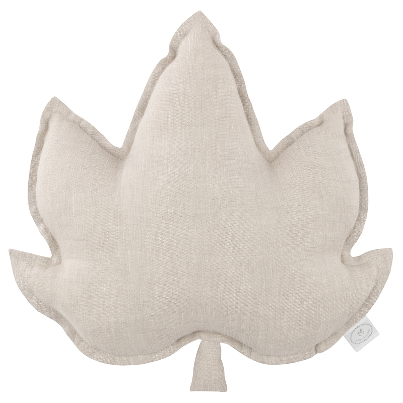 Kissen aus Leinen 'Blatt' beige ca. 43cm