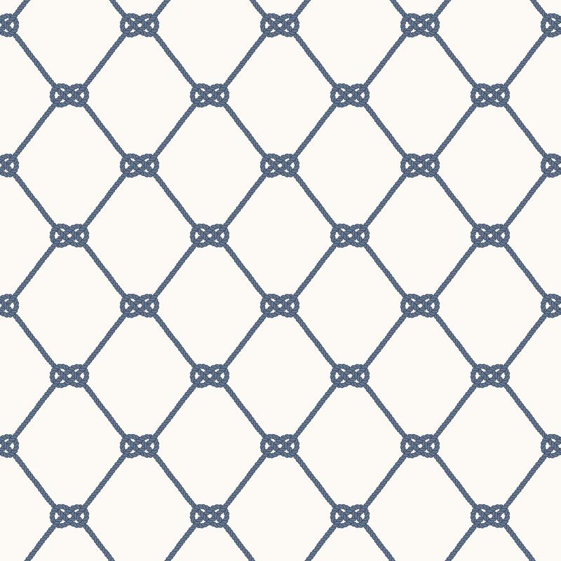 Vliestapete 'Seemannsknoten' weiß/blau