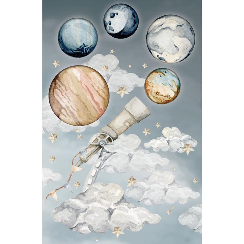 Wandsticker 'Planeten' blau/beige
