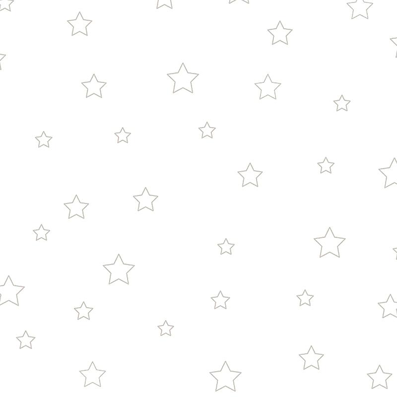 Stoff 'Sterne' silber/weiß halbtransparent 280cm