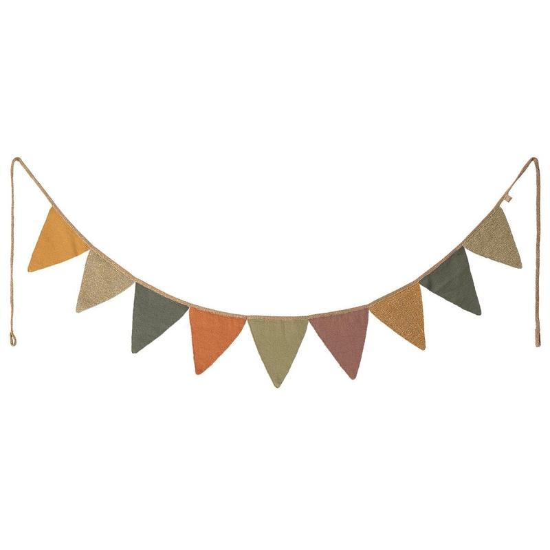 Wimpelkette aus Baumwolle ocker/oliv 248cm