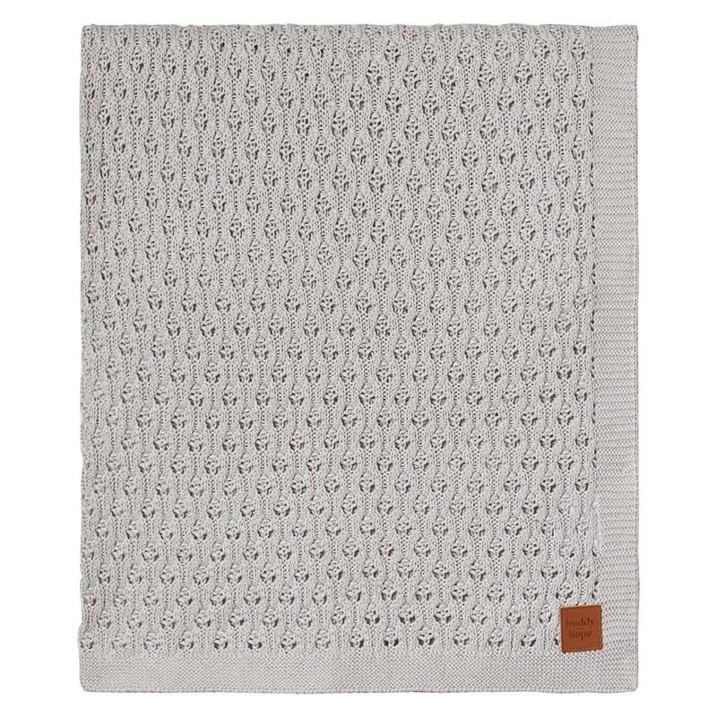 Babydecke aus Strick hellgrau 80x100cm