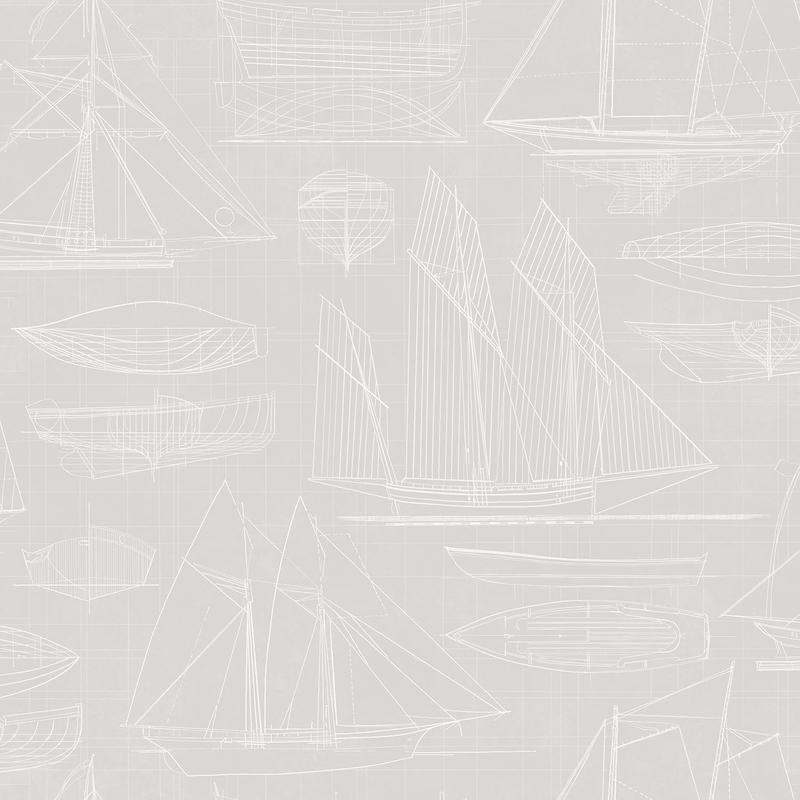 Vliestapete 'Segelschiffe' hellgrau