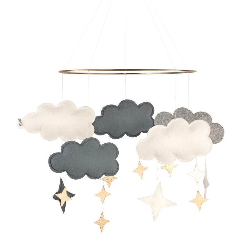 Mobile 'Wolken' Filz blau/gold