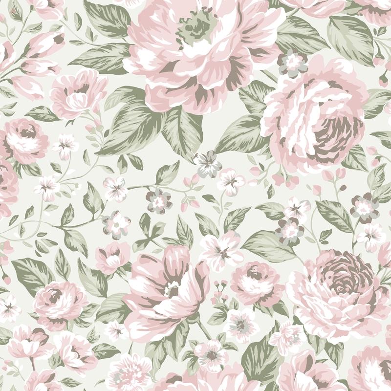 Tapete 'Newbie' Pfingstrosen rosa/grau