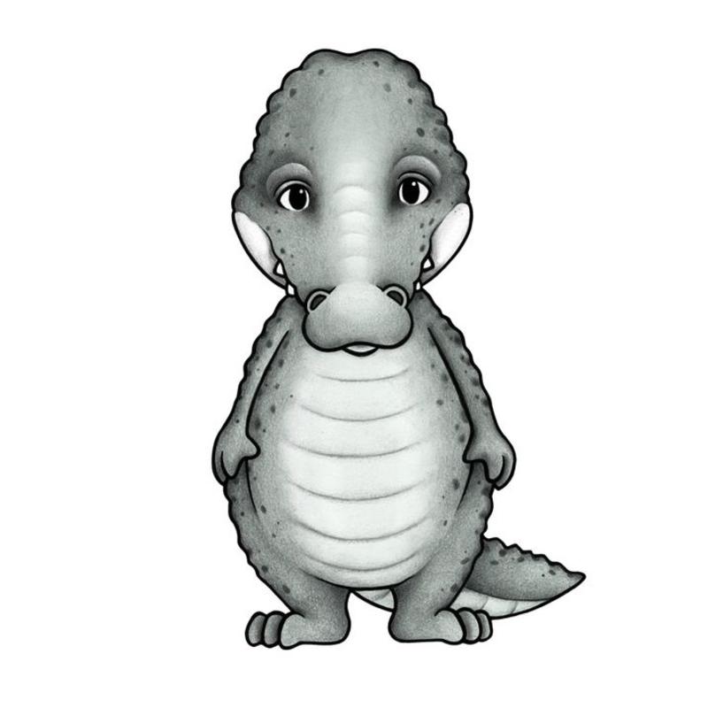 Tier-Wandsticker 'Krokodil' handgezeichnet