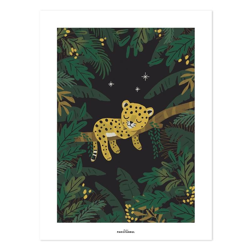 Poster 'Jungle' Babyleopard grün 30x40cm