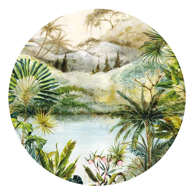 XL-Wandsticker 'Dschungel' rund grün