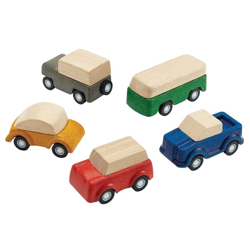 Autos aus Naturholz ab 3 Jahren 5er Set
