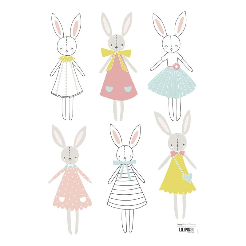 Wandsticker 'Süße Hasen' in Pastellfarben