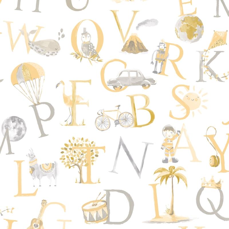 Vliestapete 'Buchstaben' gelb/grau