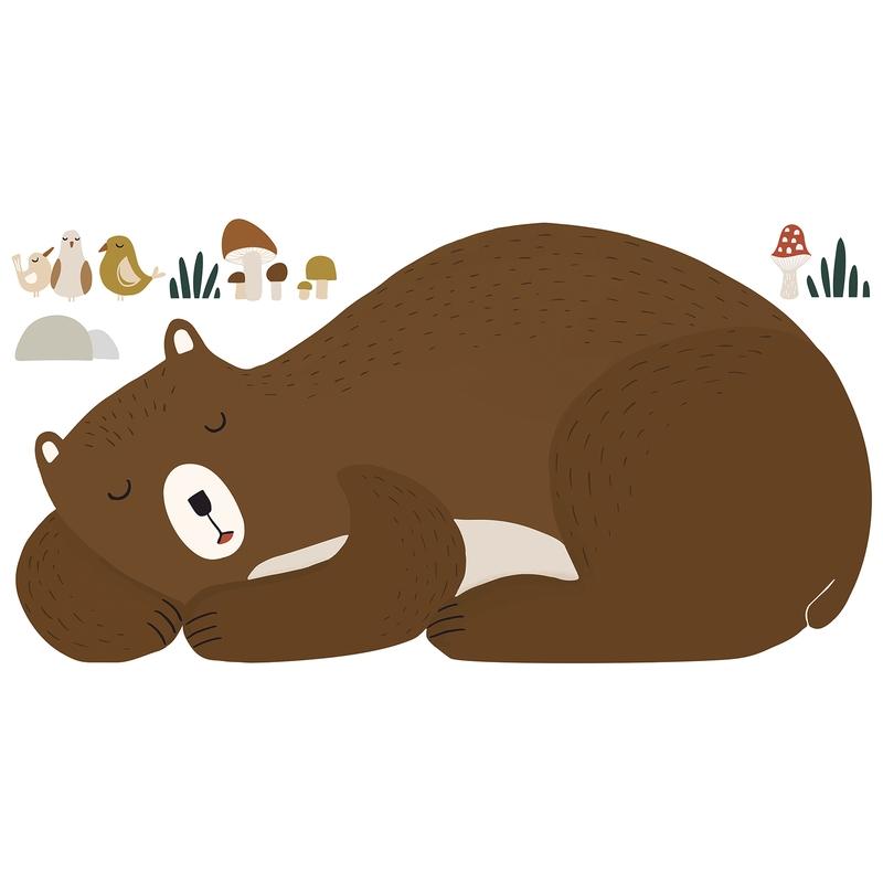 XL-Wandsticker 'Schlafender Bär' braun