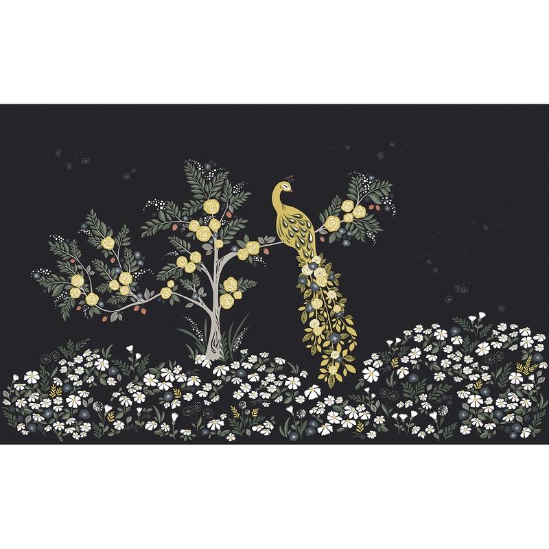 Fototapete 'Pfau und Blumen' 400x248cm