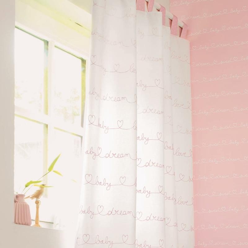 Bestickter 'My Little World' Stoff 'Baby' warmweiß/rosé