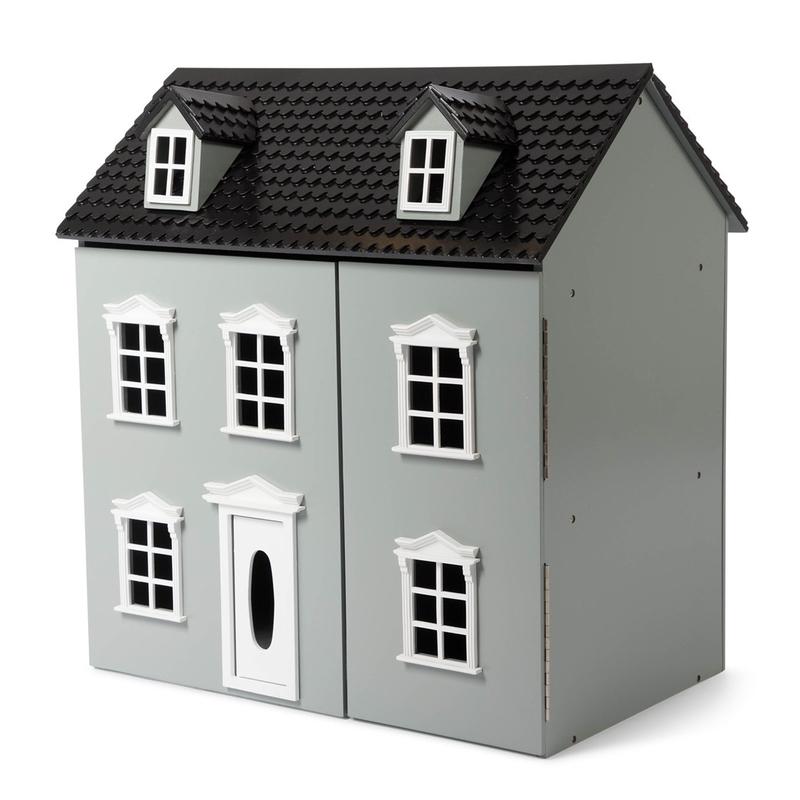 Puppenhaus aus Holz grau 62cm ab 3 Jahren